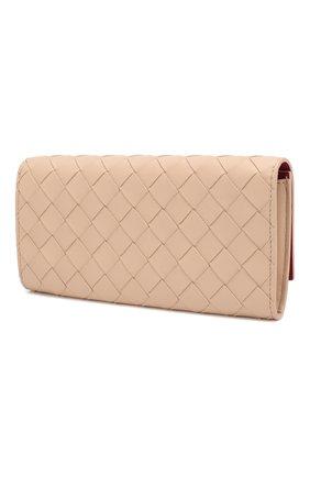 Женские кожаный кошелек BOTTEGA VENETA бежевого цвета, арт. 591685/V00BM   Фото 2