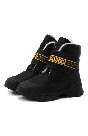 Детские текстильные ботинки GALLUCCI черного цвета, арт. J30068BM/TR S S G0M G0M/TNB | Фото 1