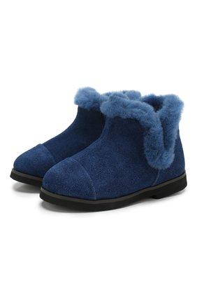 Детские замшевые ботинки AGE OF INNOCENCE синего цвета, арт. 000103/ASHLEY/20-26 | Фото 1