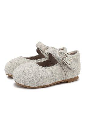 Детские текстильные туфли AGE OF INNOCENCE светло-серого цвета, арт. 000131/JENNY W00L/19-26 | Фото 1