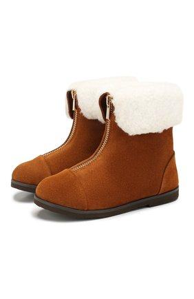 Детские замшевые ботинки AGE OF INNOCENCE коричневого цвета, арт. 000133/IVY/27-33 | Фото 1