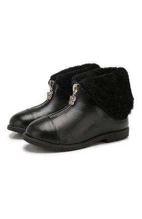 Детские кожаные ботинки AGE OF INNOCENCE черного цвета, арт. 000138/LUCIA/25-31 | Фото 1