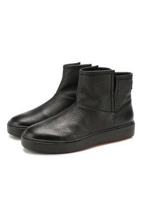Женские кожаные ботинки SANTONI черного цвета, арт. WBCE60482NEAPWISN01 | Фото 1
