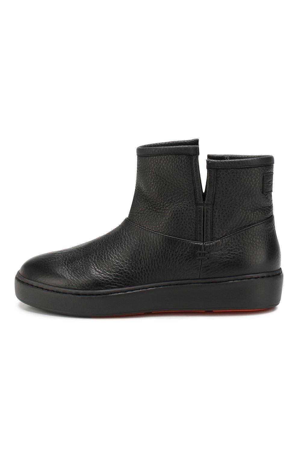 Женские кожаные ботинки SANTONI черного цвета, арт. WBCE60482NEAPWISN01 | Фото 3