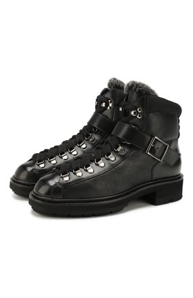 Женские кожаные ботинки SANTONI черного цвета, арт. WTSL58309R0CAILRN01 | Фото 1