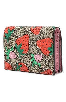 Женский футляр для кредитных карт gg supreme GUCCI розового цвета, арт. 573839/GZRAT | Фото 2
