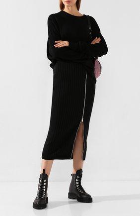 Женская шерстяная юбка PALM ANGELS черного цвета, арт. PWHI007E196850371000   Фото 2