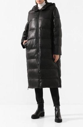 Женский кожаный пуховик YS ARMY PARIS черного цвета, арт. 20WFM90315D0CU | Фото 2