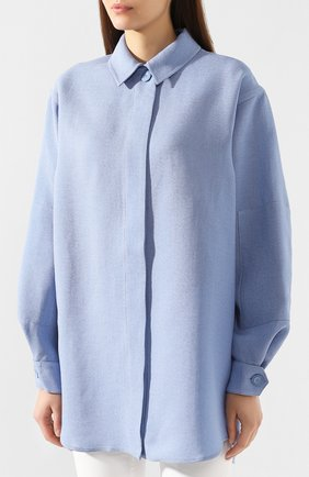 Рубашка из смеси шелка и хлопка   Фото №3