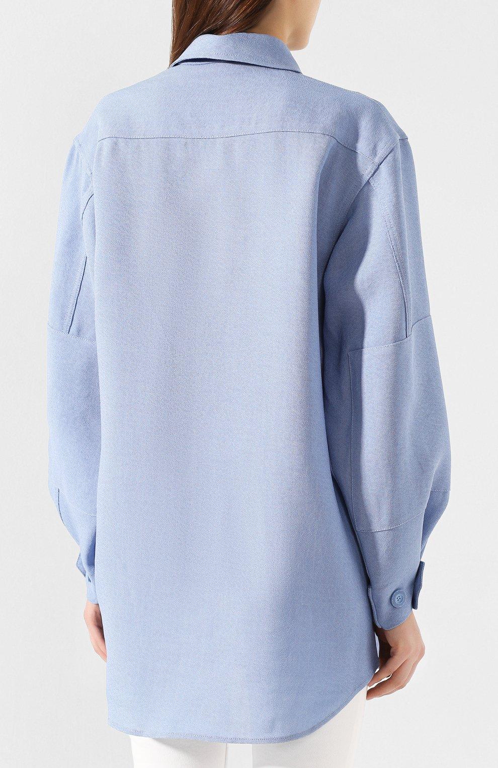 Рубашка из смеси шелка и хлопка   Фото №4