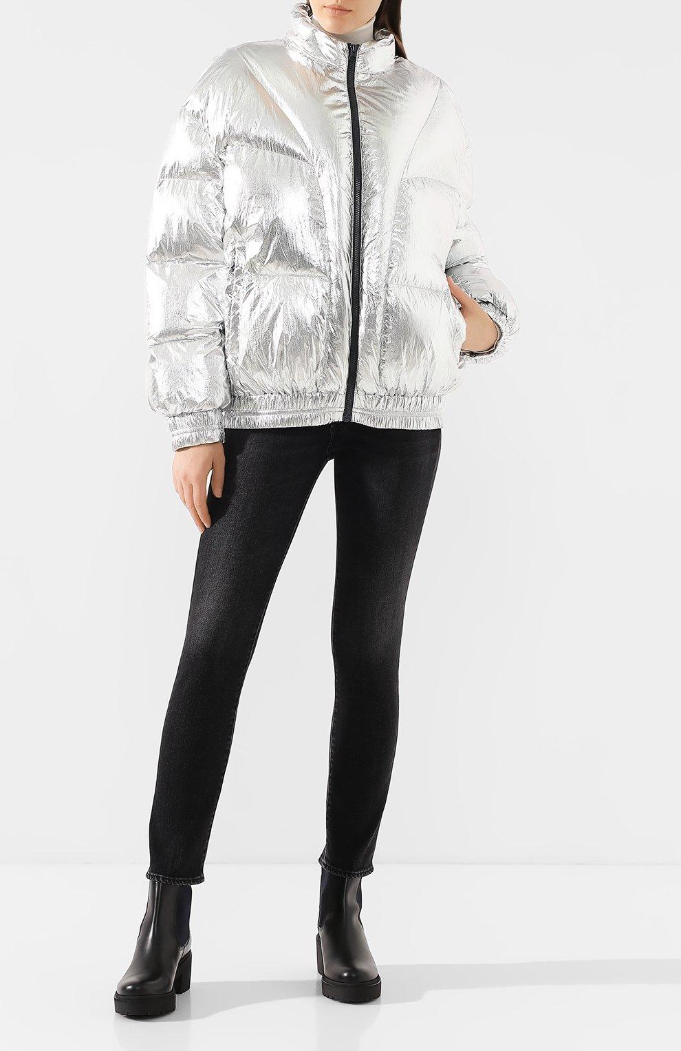 Женский утепленная куртка ISABEL MARANT ETOILE серебряного цвета, арт. MA0592-19A074E/KRISTEN | Фото 2 (Кросс-КТ: Куртка, Пуховик; Рукава от горловины: Длинные; Рукава: Длинные; Женское Кросс-КТ: Пуховик-куртка; Материал внешний: Синтетический материал; Материал подклада: Синтетический материал; Статус проверки: Проверено, Проверена категория; Длина (верхняя одежда): Короткие)