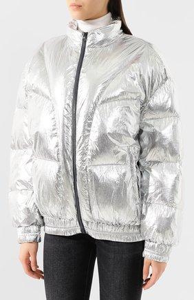Женский утепленная куртка ISABEL MARANT ETOILE серебряного цвета, арт. MA0592-19A074E/KRISTEN | Фото 3 (Кросс-КТ: Куртка, Пуховик; Рукава от горловины: Длинные; Рукава: Длинные; Женское Кросс-КТ: Пуховик-куртка; Материал внешний: Синтетический материал; Материал подклада: Синтетический материал; Статус проверки: Проверено, Проверена категория; Длина (верхняя одежда): Короткие)