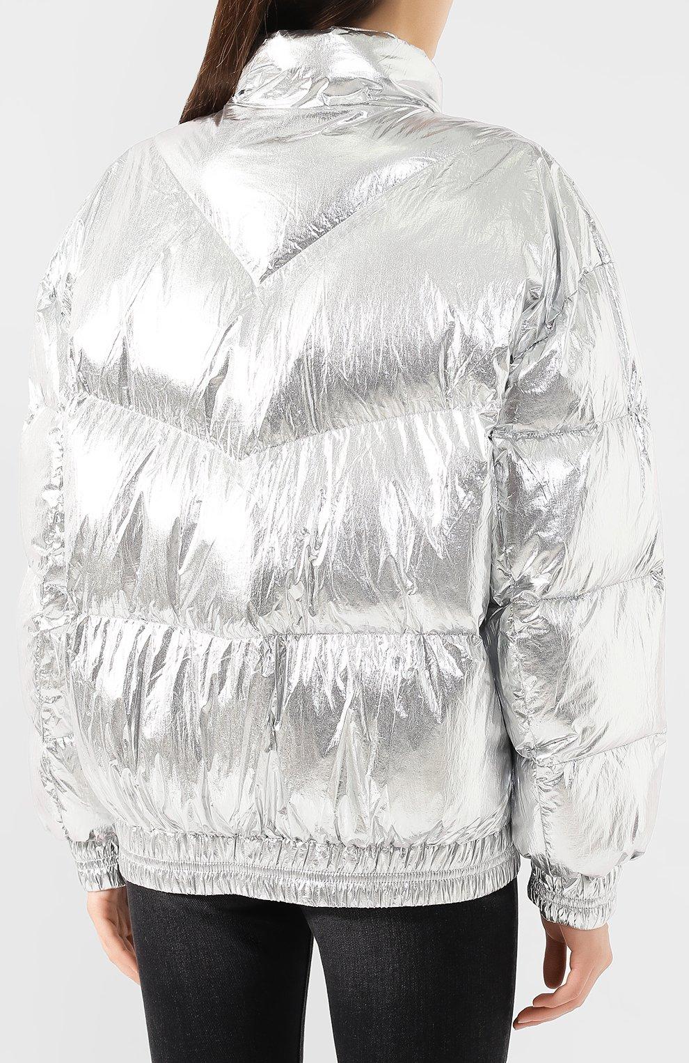 Женский утепленная куртка ISABEL MARANT ETOILE серебряного цвета, арт. MA0592-19A074E/KRISTEN | Фото 4 (Кросс-КТ: Куртка, Пуховик; Рукава от горловины: Длинные; Рукава: Длинные; Женское Кросс-КТ: Пуховик-куртка; Материал внешний: Синтетический материал; Материал подклада: Синтетический материал; Статус проверки: Проверено, Проверена категория; Длина (верхняя одежда): Короткие)
