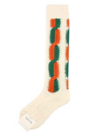 Женские шерстяные носки GUCCI бежевого цвета, арт. 593978/3GE36 | Фото 1