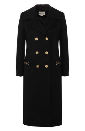 Женское шерстяное пальто GUCCI черного цвета, арт. 592185/ZHW03 | Фото 1