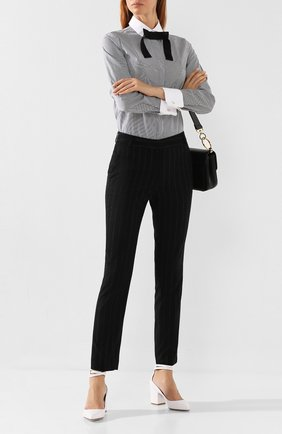 Женские брюки в полоску WEILL черного цвета, арт. 113010 | Фото 2 (Статус проверки: Проверена категория, Проверено; Материал внешний: Полиэстер, Синтетический материал; Женское Кросс-КТ: Брюки-одежда; Случай: Формальный; Силуэт Ж (брюки и джинсы): Прямые; Длина (брюки, джинсы): Стандартные)