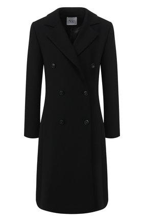 Женское двубортное пальто WEILL черного цвета, арт. 114008 | Фото 1 (Материал внешний: Шерсть, Полиэстер, Синтетический материал; Рукава: Длинные; Материал подклада: Синтетический материал; Статус проверки: Проверено, Проверена категория; Длина (верхняя одежда): До колена; 1-2-бортные: Двубортные)