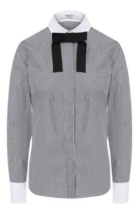 Женская хлопковая рубашка WEILL черно-белого цвета, арт. 117006 | Фото 1 (Рукава: Длинные; Материал внешний: Хлопок; Длина (для топов): Стандартные; Принт: С принтом, Полоска; Женское Кросс-КТ: Рубашка-одежда; Статус проверки: Проверена категория)