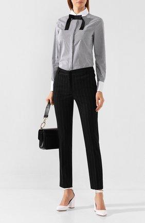 Женская хлопковая рубашка WEILL черно-белого цвета, арт. 117006 | Фото 2 (Рукава: Длинные; Материал внешний: Хлопок; Длина (для топов): Стандартные; Принт: С принтом, Полоска; Женское Кросс-КТ: Рубашка-одежда; Статус проверки: Проверена категория)