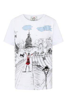 Женская хлопковая футболка WEILL белого цвета, арт. 117502 | Фото 1 (Статус проверки: Проверена категория; Силуэт Ж (для верхов): Оверсайз; Материал внешний: Хлопок; Рукава: Короткие; Длина (для топов): Стандартные; Женское Кросс-КТ: Футболка-одежда)