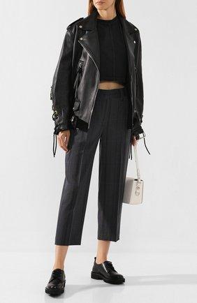 Женские брюки из смеси шерсти и хлопка ACNE STUDIOS серого цвета, арт. AK0125   Фото 2