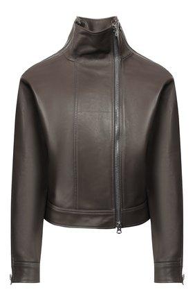 Женская кожаная куртка ACNE STUDIOS серого цвета, арт. A70036 | Фото 1