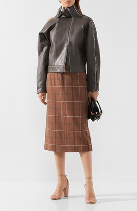 Женская кожаная куртка ACNE STUDIOS серого цвета, арт. A70036 | Фото 2