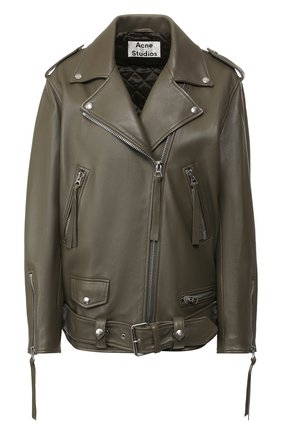 Кожаная куртка с поясом | Фото №1