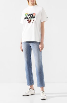 Женская хлопковая футболка GOLDEN GOOSE DELUXE BRAND белого цвета, арт. G35WP024.F1 | Фото 2