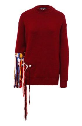 Женская шерстяной свитер OSCAR DE LA RENTA бордового цвета, арт. 19FE1439SWS | Фото 1