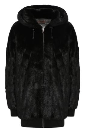 Женская шуба из меха норки METEO YVES SALOMON черного цвета, арт. 20WMM30782VCXX | Фото 1