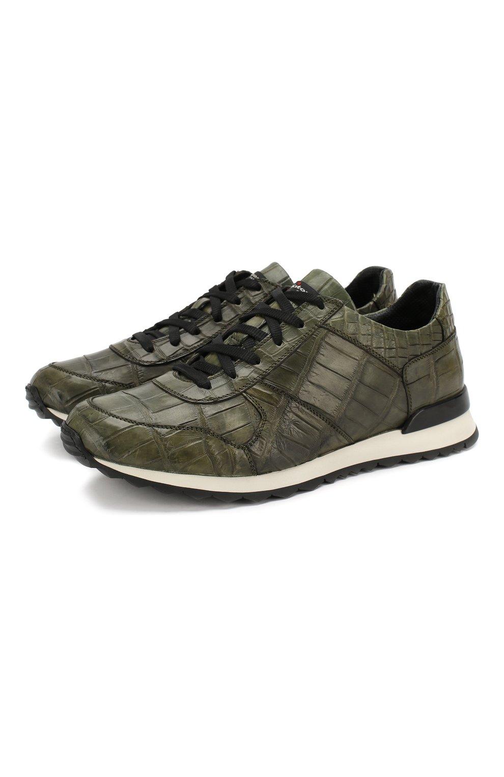 Мужские кроссовки из кожи крокодила KITON зеленого цвета, арт. USSVLAN/N00102 | Фото 1
