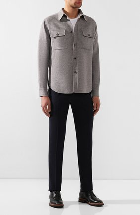 Мужской кожаные дерби KITON черного цвета, арт. USSENGLN00126 | Фото 2