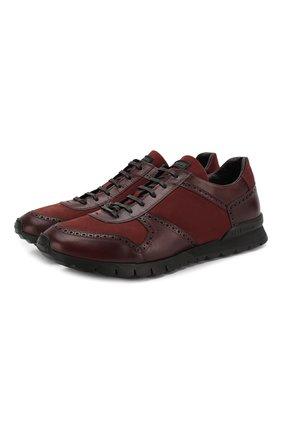 Мужские кожаные кроссовки KITON бордового цвета, арт. USSARGXN00618 | Фото 1