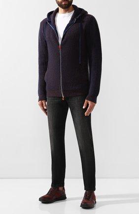 Мужские кожаные кроссовки KITON бордового цвета, арт. USSARGXN00618 | Фото 2