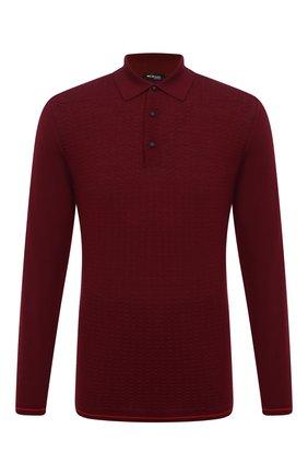 Мужское поло из смеси кашемира и шелка KITON бордового цвета, арт. UK11041 | Фото 1