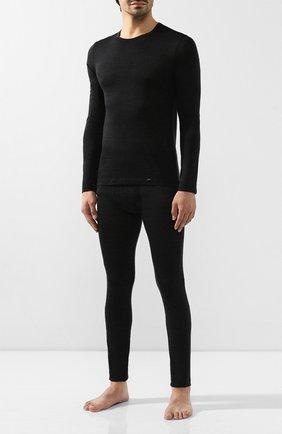 Мужские лонгслив из смеси шерсти и шелка HANRO темно-серого цвета, арт. 074036 | Фото 2