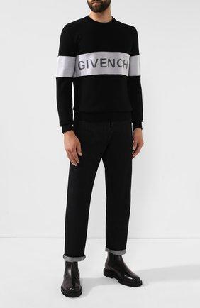 Мужской шерстяной свитер GIVENCHY черно-белого цвета, арт. BM90AP4Y4Y | Фото 2