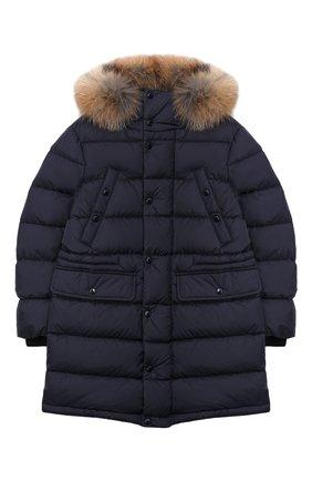 Детское пуховое пальто MONCLER ENFANT синего цвета, арт. E2-954-42368-25-68352/8-10A | Фото 1