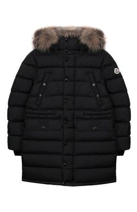 Детское пуховое пальто MONCLER ENFANT черного цвета, арт. E2-954-42368-25-68352/12-14A | Фото 1