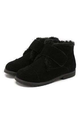 Детские замшевые ботинки AGE OF INNOCENCE черного цвета, арт. 000024/Z0EY 2.0/27-33 | Фото 1