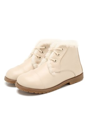 Детские кожаные ботинки AGE OF INNOCENCE кремвого цвета, арт. 000024/Z0EY LEATHER/27-33 | Фото 1