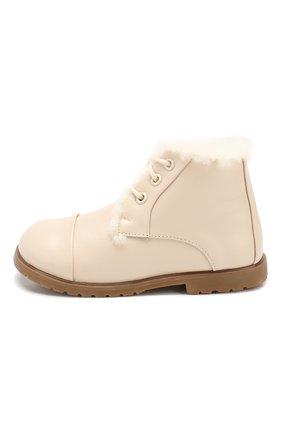 Детские кожаные ботинки AGE OF INNOCENCE кремвого цвета, арт. 000024/Z0EY LEATHER/27-33 | Фото 2