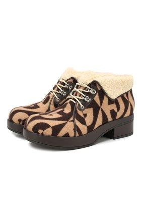 Женские ботинки victor GUCCI темно-коричневого цвета, арт. 591039/HSW10 | Фото 1