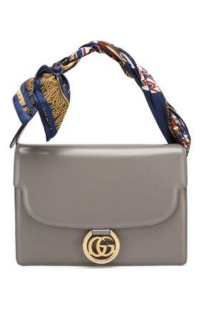Женская сумка gg ring medium GUCCI серого цвета, арт. 596478/1DBIG | Фото 1