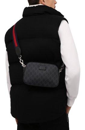 Мужская сумка gg supreme GUCCI черного цвета, арт. 574886/K5RLN   Фото 2