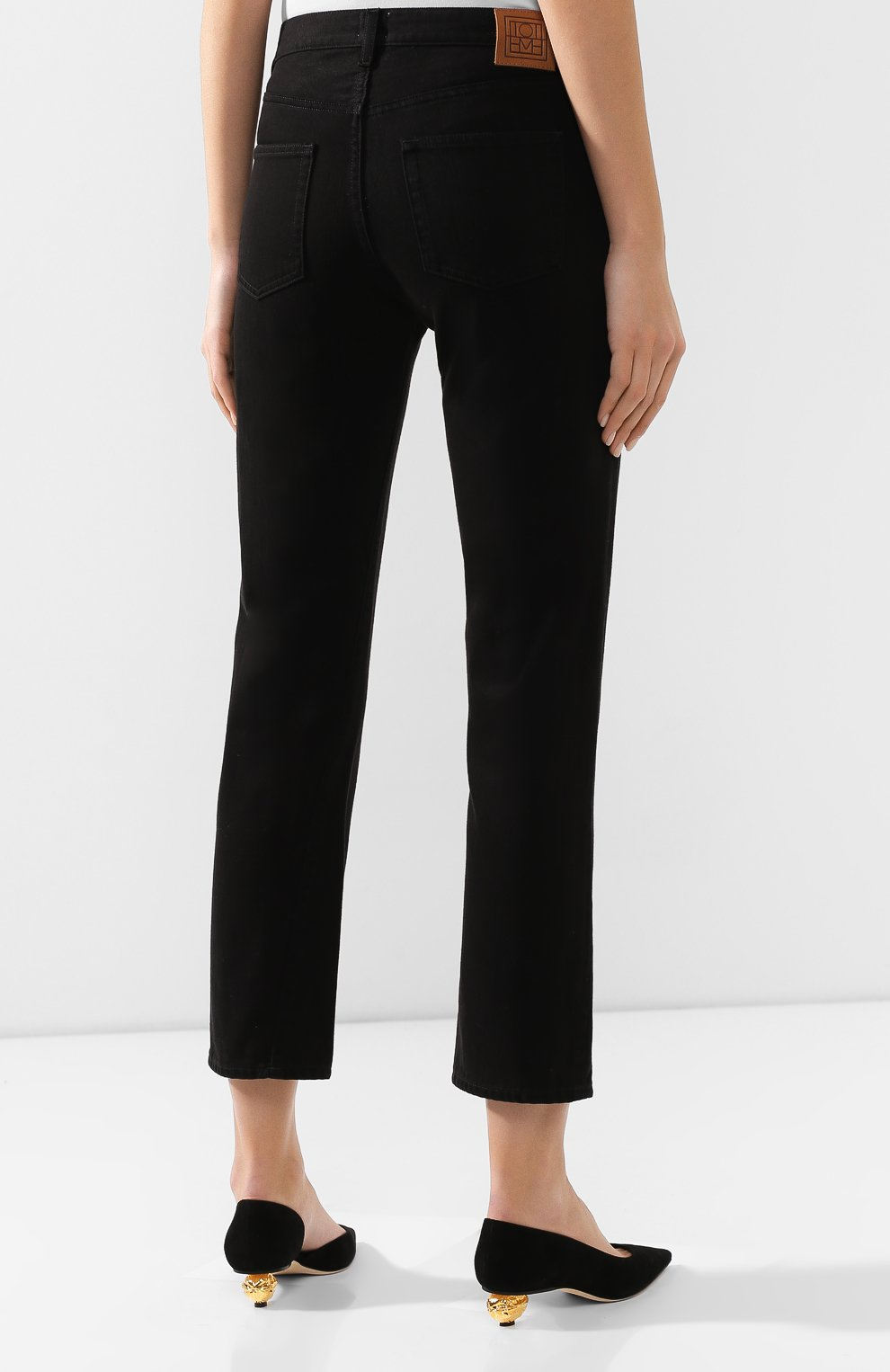 Женские джинсы TOTÊME черного цвета, арт. 0RIGINAL DENIM 32 193-232-744   Фото 4