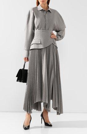 Женская хлопковая рубашка A.W.A.K.E. MODE серого цвета, арт. AW19.T14 | Фото 2