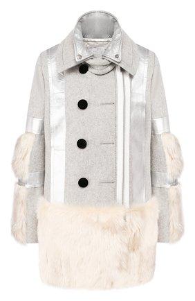 Женское шерстяное пальто SACAI светло-серого цвета, арт. 19-04654 | Фото 1