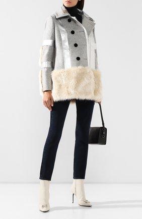 Женское шерстяное пальто SACAI светло-серого цвета, арт. 19-04654 | Фото 2